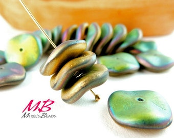 18 Matte California Meadow Beads, Green and Gold Preciosa and Ripple Beads 12mm Czech Glass