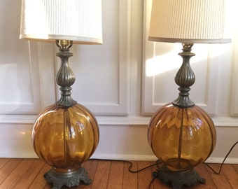 60's Amber Glass Ball Lamps ~  Free Shipping in U.S.A.