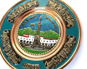Ecuador Hanging Plate , Souvenir From Ecuador , Copper Plate , Hand Painted Copper Plate , Ecuador Decorative Plate , Quito Ecuador Folk Art