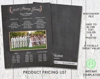 Photography Price Templates, Photography Product Pricing Guide, Photoshop Template - P1P002 You'll receive 2 files