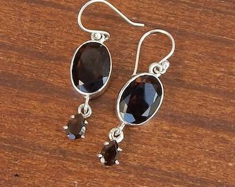Smoky Quartz Earrings, Oval Cut Brown Smoky 925 Sterling Silver Statement Earrings, Wedding Gift Bezel Set Silver Dangle Earrings