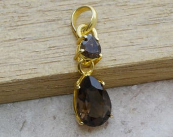 Natural Brown Smoky Quartz Gemstone Pendant, 925 Sterling Silver 14K Yellow Gold Filled Jewelry,  Birthstone Sterling Silver Necklace