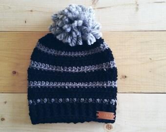 Black and Grey Crochet Beanie with Grey Pom Pom