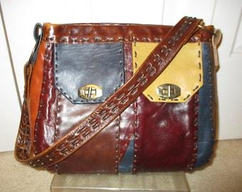 Vintage patchwork leather shoulder bag