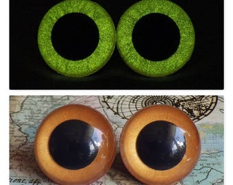 24mm Glow In The Dark Safety Eyes, Metallic Copper, Amber Safety Eyes With Yellow Glow, 1 Pair Of Hand Painted Plastic Safety Eyes