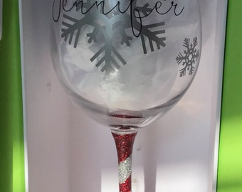 Christmas WINE GLASS * holiday wine glass * secret santa gift