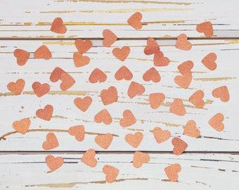 heart confetti copper