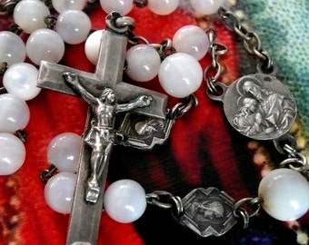 Vintage French Mother of Pearl Rosary, Vintage MOP Rosary, Vintage Mother of Pearl Rosary
