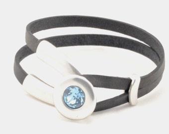 anniversary gifts for women, birthstone bracelet, custom birthday gift, personalized leather bracelet, birthstone jewelry, trending jewelry