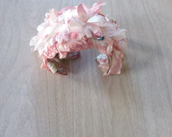 Vintage Pink Flower Mini Hat Made in Japan with Green and White Lining