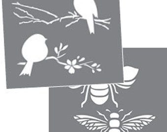 "Americana Decor, Bees & Birds, 8"" x 8"", 2 Stencils Per Package, Reusable Stencils"