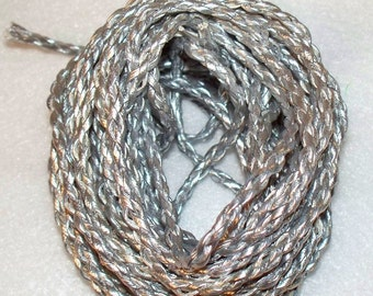 6 yards of Silver Braided Leather Cording