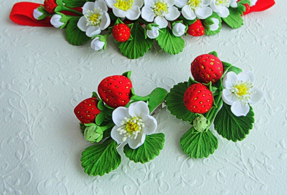 Strawberry hair clips baby strawberry flower girls birthday like this item negle Gallery
