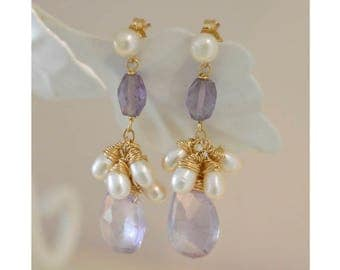 Amethyst drop faceted beautiful gold-filled earrings with pearls.
