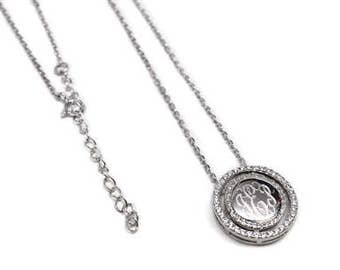 Sterling Silver Engravable CZ Halo Necklace