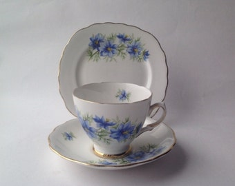 Colclough China Nigella Blue Flowers Trio, Cup Saucer & Tea Plate, Blue Cornflowers Vintage bone china. English tea set