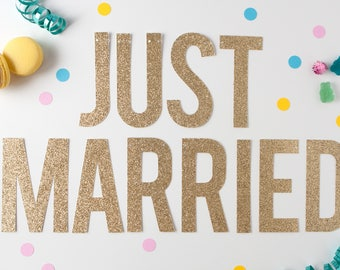 Just Married Glitter Banner, Wedding Decor, Just Married Sign
