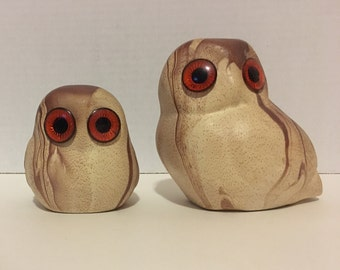 Owl Set Ceramic// Owl Decor// Animal Figures