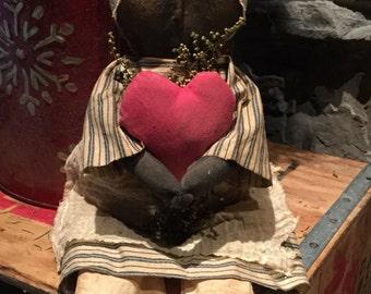 Primitive made to order Valentine doll
