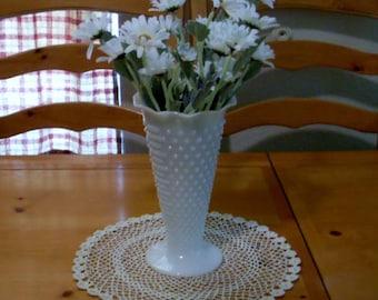 Vintage Hobnail Milk Glass Vase, Wedding Centerpiece, Farmhouse Cottage, Collectible