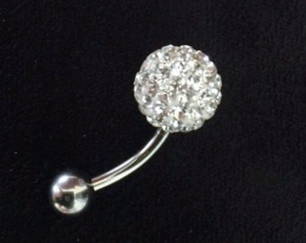 Real Sterling Silver and Surgical Steel Crystal Ball Belly Bar Stud