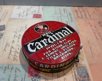 Vintage Tin Collectible Tin Red Cardinal Polish 1950's Old Tin Litho Printed Tin Household Domestic Retro Packaging
