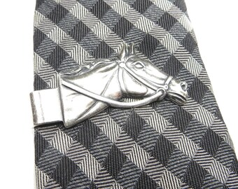 Horse Tie Bar- Horse Money Clip- Sterling Silver Finish