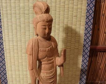 Rustic Japanese Wood Carved Statue of Kannon Bosatsu / Kwan Yin / Buddha 12 Inches Tall
