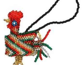 Beaded Ornament - Rainbow Rooster