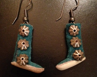Suede Moccasin Earrings with Sterling Conchos
