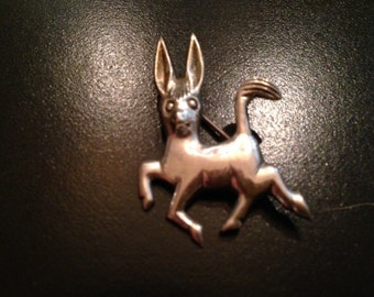 Sterling Silver Prancing Donkey Pin/Brooch