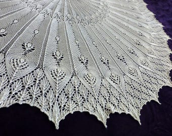 Crisp and Sophisticated Whitebird Shawl Hand-knit in Bluefaced-Leicester and Silk