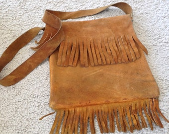 Authentic Old School Hippie Fringed Leather Purse