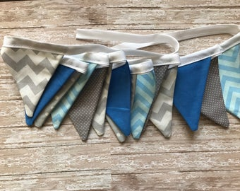 Blue Gray birthday shower banner mini flags pennant banner