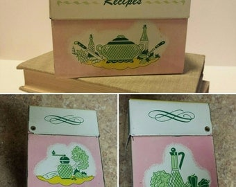 Vintage Metal Recipe Box with Dividers - 1960s - Ohio Art