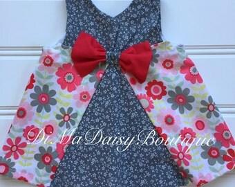 Red Floral Dress, Toddler Dress, Girl Summer Dress, Little Girl Dress, Baby Girl Dress, Girl Sundress, Red Dress, Swing Dress, Infant Dress