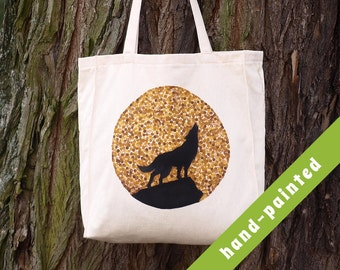 wolf tote bag/ wolf gift/ gift wolves/ wolf canvas bag, wolf gifts, woodland, wolf eco bag,  wolf, tote bag, wolf art, wolf bag, wolves