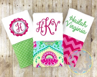 Baby Girl Gift Set - set of 3 personalized, monogrammed burp cloths - baby gift - baby shower gift