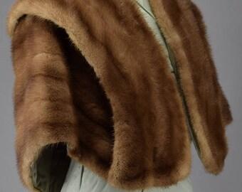 Vintage 50s 60s Honey Blonde Mink Fur Shrug Stole S M