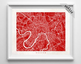 Moscow Map, Russia Print, Moscow Poster, Russian Art, Holiday Gift, Playroom Art, Decor Idea, Home Town, Giclee Print, Christmas Gift