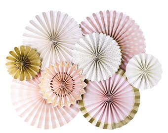 Blush Pink and Gold Party Fans | Pom Wheel | Rosettes | Paper Medallions | Light Pink and Gold Fans  | PNP401| Paper Pinwheel