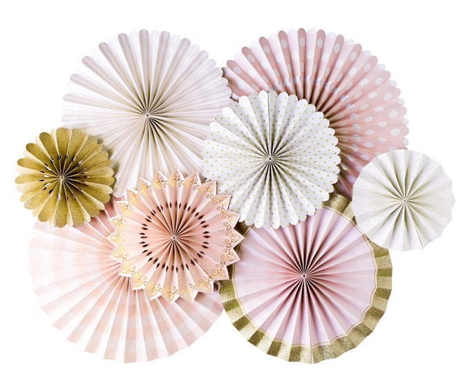 Blush Pink and Gold Party Fans, Pom Wheel, Rosettes, Paper Medallions, Light Pink and Gold Fans, Paper Pinwheel