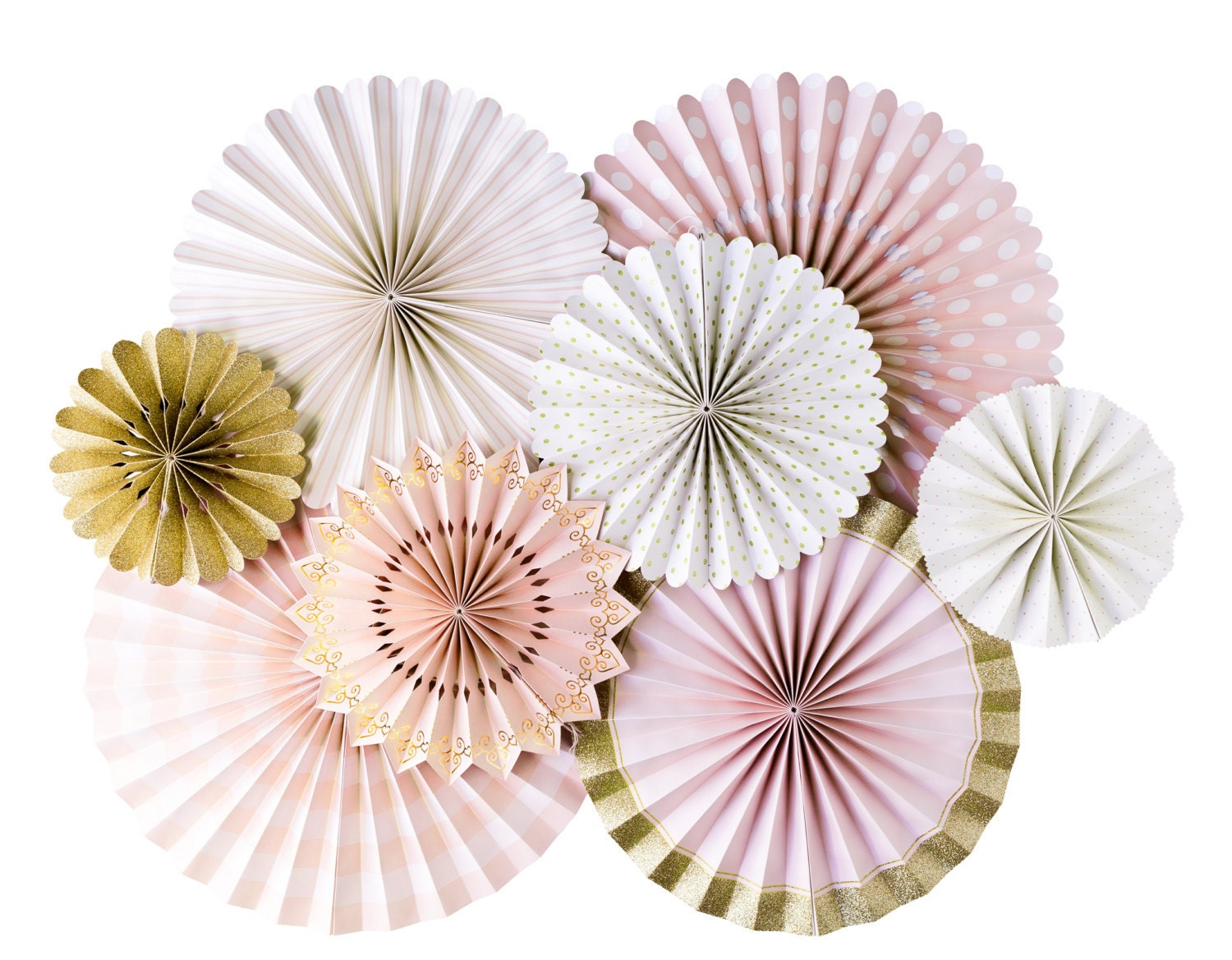 Blush Pink And Gold Party Fans Pom Wheel Rosettes Paper