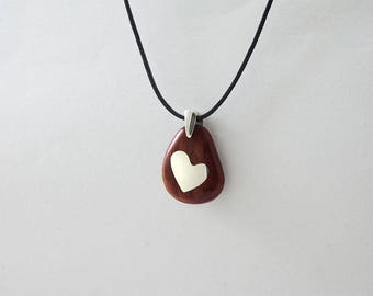 PENDANT HEART BEAN-Shaped Wooden High quality Handmade Jewelry by Silver 925 and Rosewood