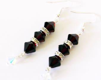 Dangling Earrings, Swarovski Crystal Earrings, Pierced Earrings, Ruby Red Swarovski Earrings, Beaded Earrings, Crystal Dangling Earrings