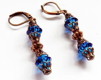 Blue Crystal Swarovski Dangling Earrings, Swarovski Earrings, Dangling Earrings, Pierced Earrings, Drop Earrings, Swarovski Jewelry, Blue