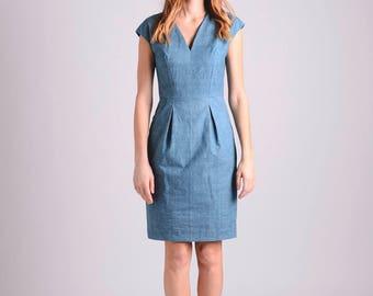Cotton elegant midi shift dress | teal