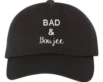 BAD & BOUJEE Dad Hat, Baseball Hat Low Profile Embroidered Baseball Caps, Dad Hats, Baddie, Black