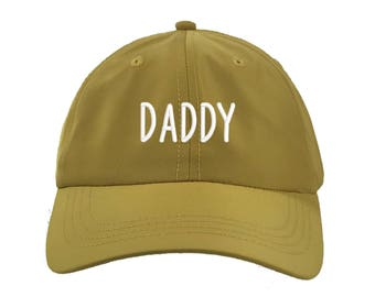 DADDY Satin Dad Hat, Embroidered Father's Baseball Cap 90s Style Hat, Mustard Yellow