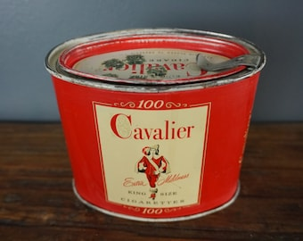 Vintage Cavalier Cigarette Tin, R J Reynolds Tobacco Co., Tobacco Tax Stamp, Red and White Tin, Tobacco Tin, Smokers Collection, 100's